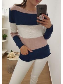 Suéter franjas tricolor...