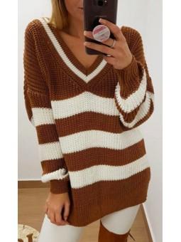 Suéter/vestido rayas camel...