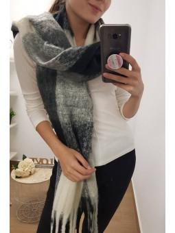 Bufanda negra, gris y marfil