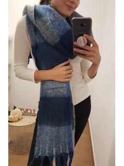 Bufanda tonos azules y marfil