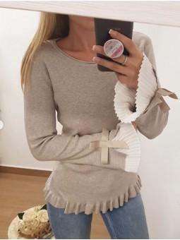 Suéter beig manga plisada...