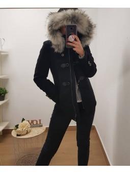 Abrigo negro hebillas...