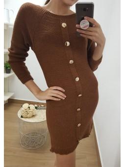 Vestido lana fila botones...