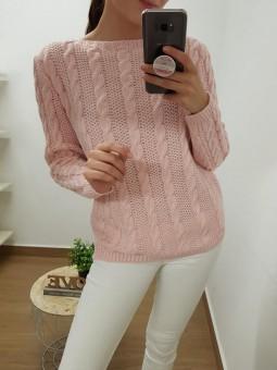 Suéter rosa lana trenzas
