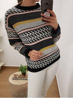 Suéter estampado blanco y...
