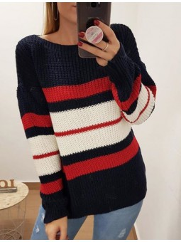 Suéter azul marino rayas...