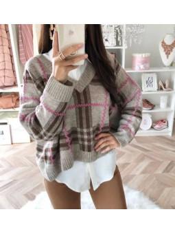 Suéter cuadros y rayas en rosa