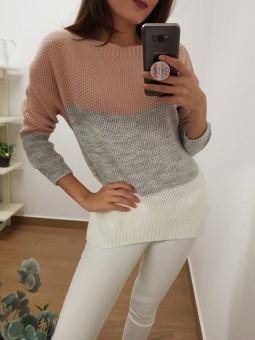 Suéter lana tricolor rosa,...