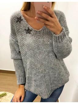 Suéter lana gris estrellas...