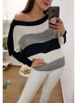Suéter tricolor azul...