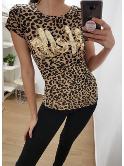 Camiseta leopardo letras...