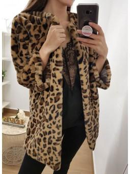Abrigo abierto leopardo pelito