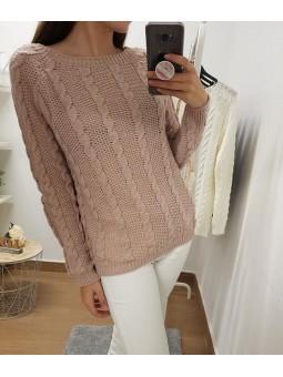 Suéter trenzado liso