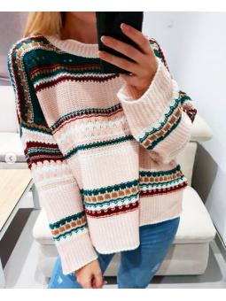 Suéter rosa franjas etnicas