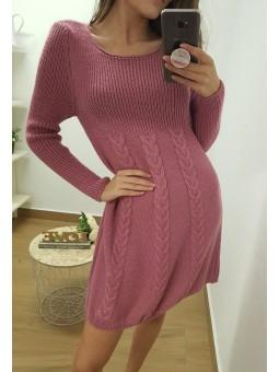 Vestido lana ancho trenzado...