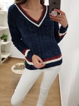 Suéter chenilla azul marino...