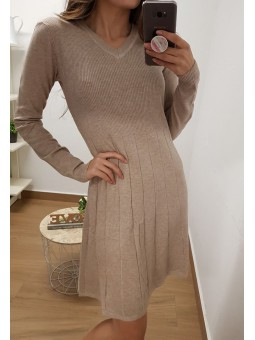 Vestido manga larga lana fina
