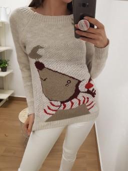 Suéter reno y pájaro bufanda
