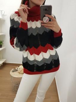 Suéter zig-zag rojo cuello...