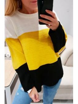 Suéter tricolor amarillo,...