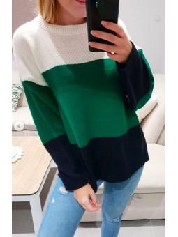 Suéter tricolor verde,...