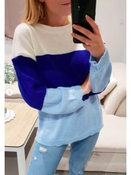Suéter tricolor azul klein,...