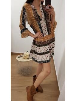Vestido patchwork mostaza