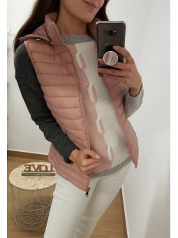 Chaleco acolchado rosa capucha