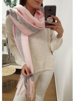 Maxi bufanda rosa bebé y gris