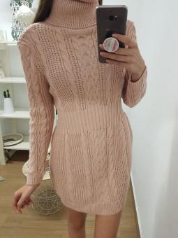 Vestido lana engomado rosa...
