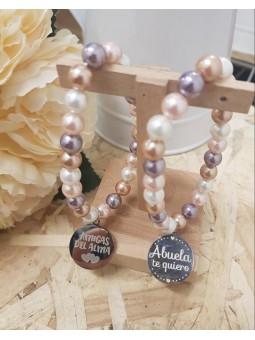 Pulsera perlas chapa frase