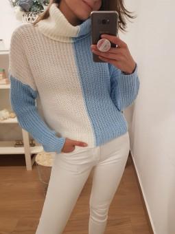 Suéter bicolor manga azul y...
