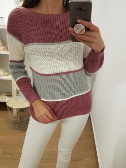 Suéter franjas blanco, gris...