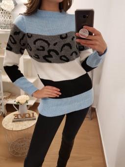 Suéter franjas azul celeste...