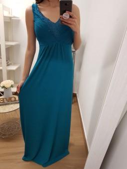 Vestido azul strass escote...