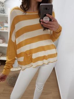 Suéter franjas mostaza...