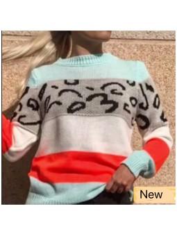 Suéter aguamarina leopardo