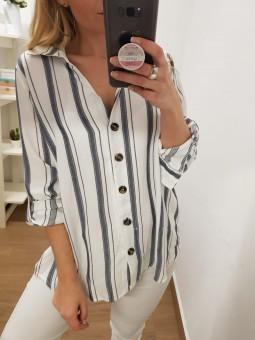 Camisa blanca rayas botones...