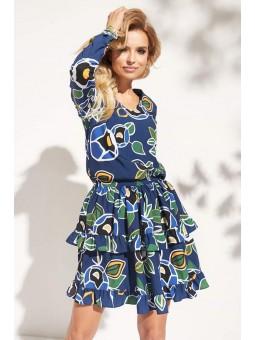 Vestido azul estampado...