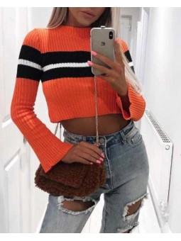 Suéter top naranja franja...