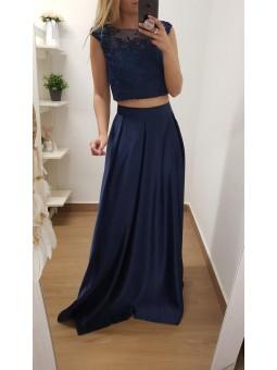 Falda azul marino larga raso