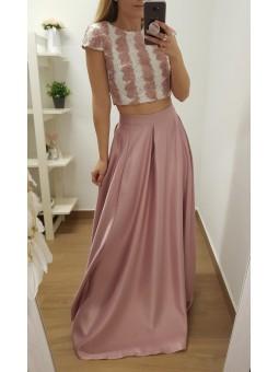 Falda rosa larga raso