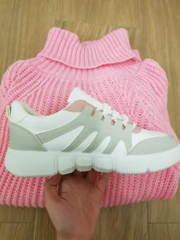 Deportiva blanca, gris y rosa