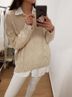 Suéter beig lamé trenzas...