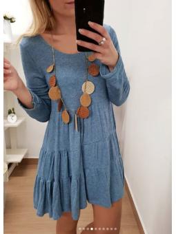 Vestido azul vaquero volantes