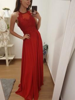 Vestido rojo pedrería y...
