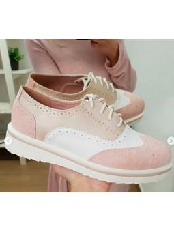 Zapatos tonos rosa cordones