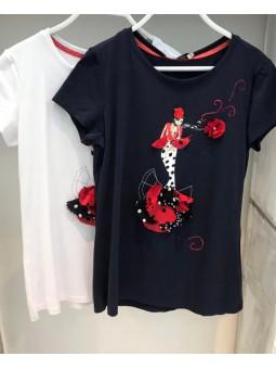 Camiseta flamenca clavel