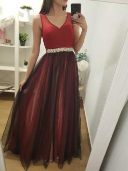 Vestido bicolor falda tul...