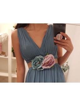 Cinturón flores en azul y rosa
